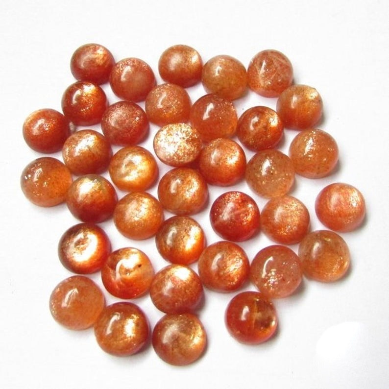 50/% Off Sale Natural Sunstone Round Cabochon 10MM Loose Gemstone Free Shaping