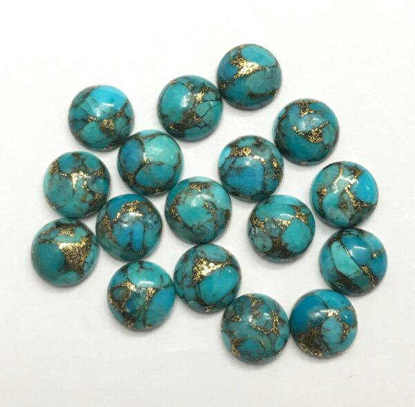 blue copper turquoise round cabochon