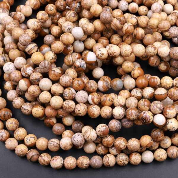 natural picture jasper smooth round beads