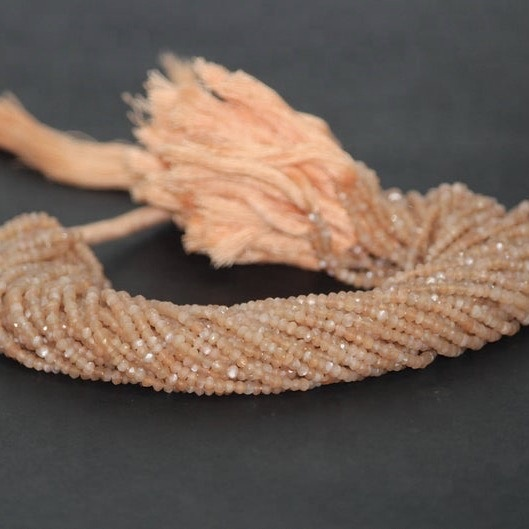 peach moonstone faceted rondelle beads