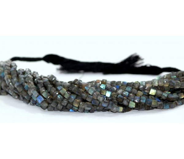 labradorite faceted cube beads