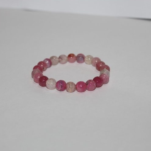 pink agate faceted round beads bracelet