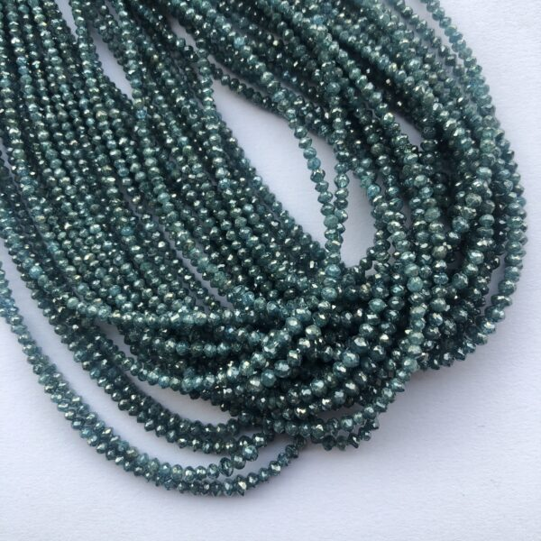 blue diamond faceted rondelle beads