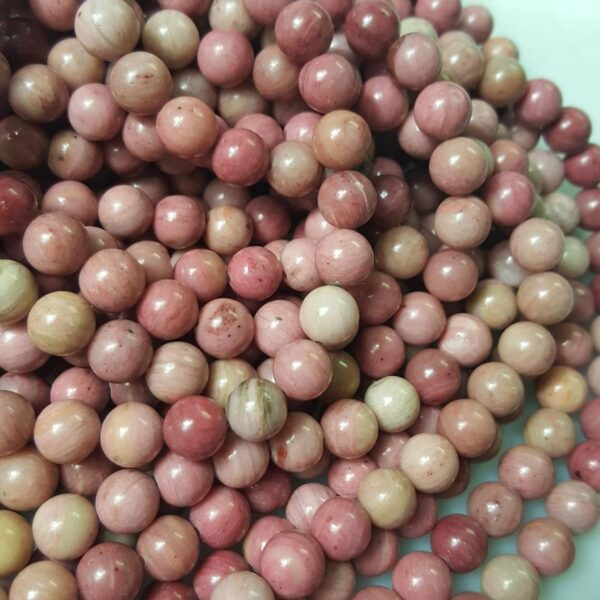 AAA Pink Rhodonite Smooth Round Beads