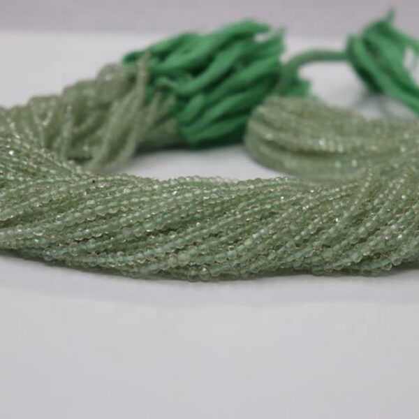 green amethyst faceted rondelle beads